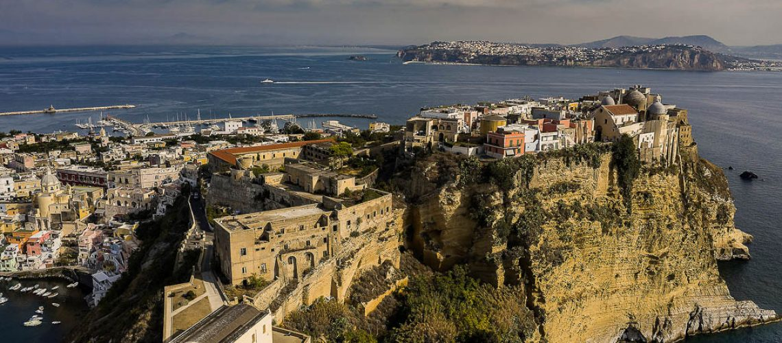Italy, Campania, Gulf of Naples, Procida - Terra Murata as seen from the air